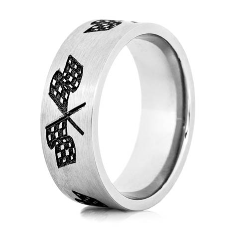 Men's Titanium Checkered Flag Wedding Ring