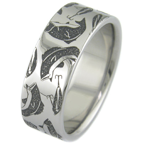 Men's Laser-Carved Titanium Bass Fishing Ring
