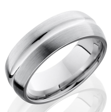 Men's Cobalt Chrome Ring with Center Groove