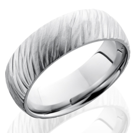 Men's Dome Profile Treebark Cobalt Ring