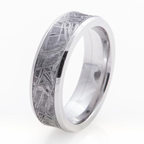 Men's Wide Inlay Concave Cobalt Gibeon Meteorite Ring