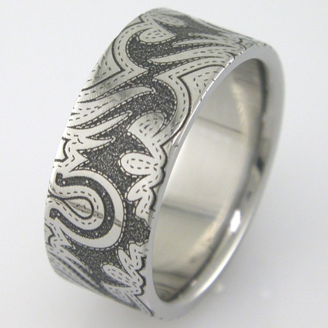 Women's Laser-Carved Titanium Classic Cowgirl Wedding Ring