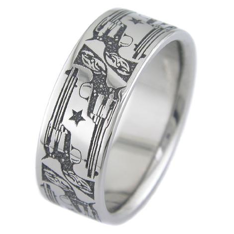 Men's Laser-Carved Titanium Cowboy Pistol Ring