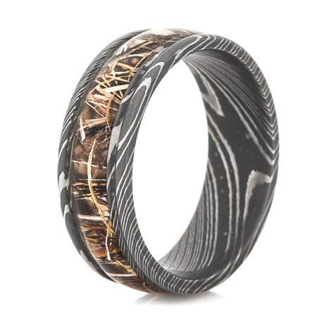 Men's Acid Finish Damascus Steel Camouflage Band