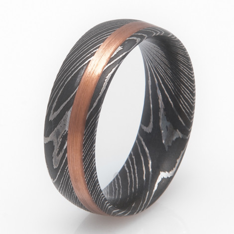 Men's Damascus Steel Ring with Copper Inlay