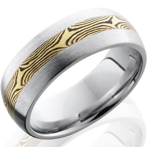 Men's Cobalt Ring with 18K Gold Mokume Gane Inlay