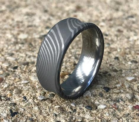Men's Concave Acid Finish Twist Pattern Damascus Steel Ring