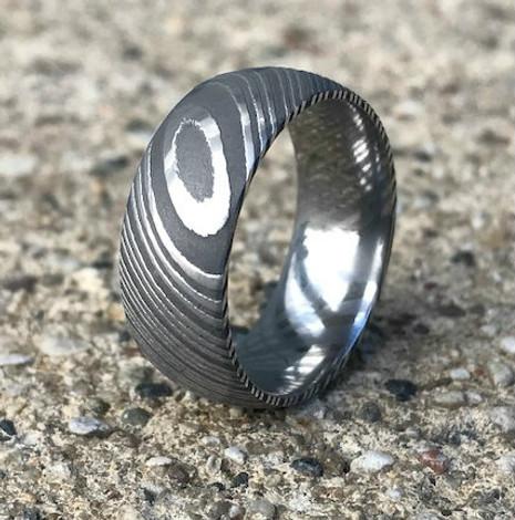 Men's Acid Finish Stainless Damascus Steel Ring