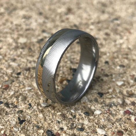 Men's Damascus Steel Ring with Offset 14K Gold Inlay