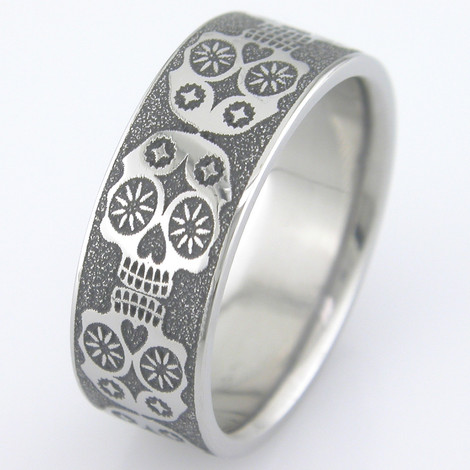 Day of the Dead Titanium Ring