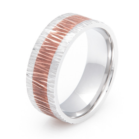Cobalt and Copper Ring with Tree Bark Finish