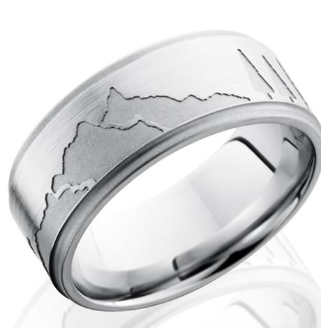 Men's Grooved Edge Cobalt Mountains Ring