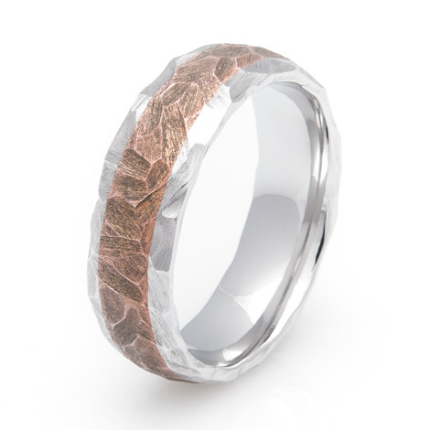 Cobalt and Copper Ring with Rock Finish