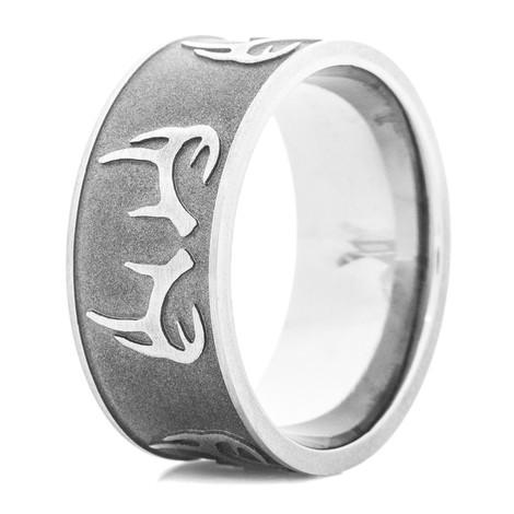 Men's Sandblasted Titanium Deer Rack Ring