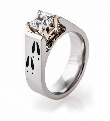 Women's Cobalt Chrome Deer Track Engagement Ring