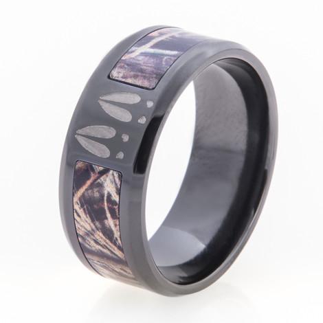Men's Black Zirconium Deer Tracks and Camo Ring