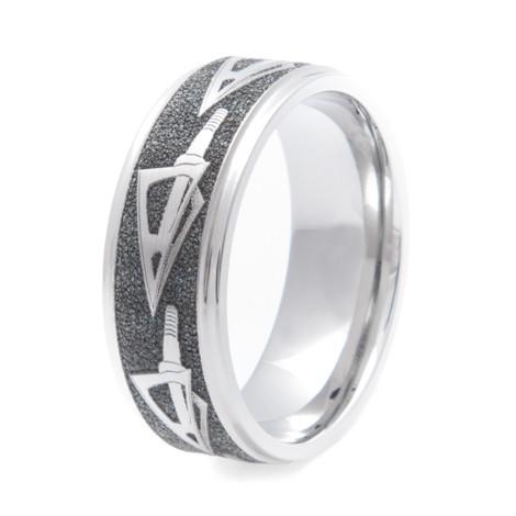 Men's Laser-Carved Titanium Bowhunter Dream Ring