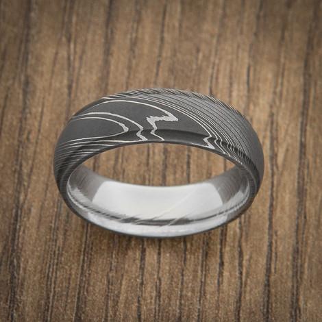 Men's Grooved Edge Acid Finish Damascus Steel Ring