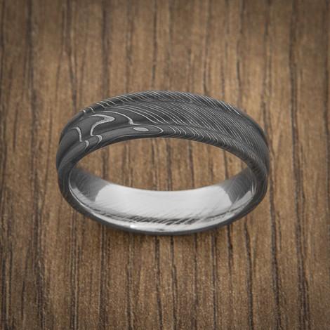 Men's Round Edge Acid Finish Damascus Steel Ring