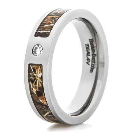 Women's Titanium Inset Diamond Camo Ring