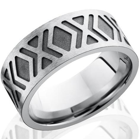 Men's Diamond Pattern Carved Cobalt Chrome Ring