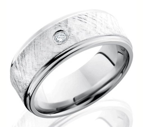 Men's Cobalt Chrome Diamond Ring with Textured Finish