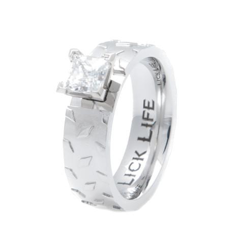 Women's Titanium Diamond Plate Engagement Band