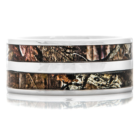 Men's Titanium Double Barrel Camo Ring