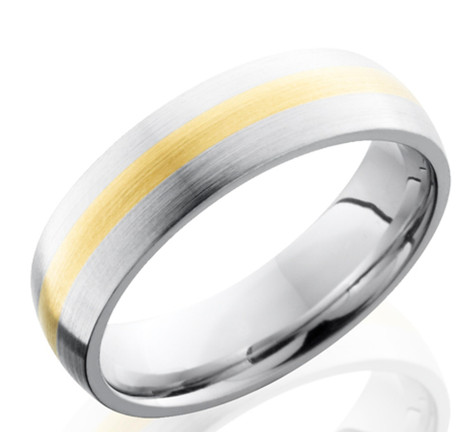 Men's Cobalt Wedding Ring with 14K Gold Inlay