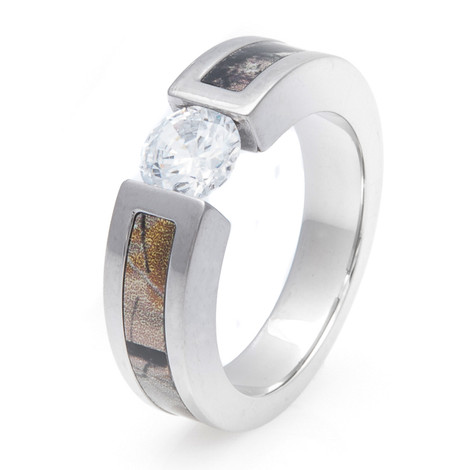Women's Titanium Tension Set Diamond Camo Ring