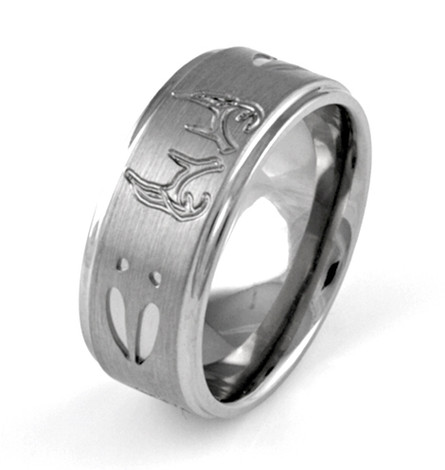 Men's Satin Titanium Deer Tracks and Antlers Ring