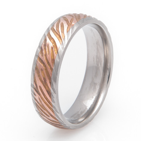 Copper Inlay Striped Ring