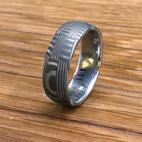 Men's Acid Finish Damascus Steel Basket Weave Ring