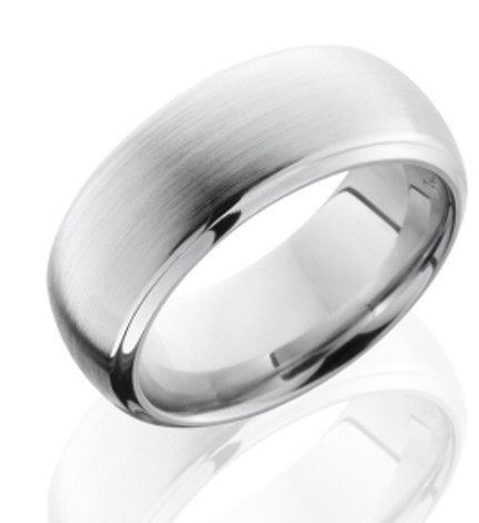 Men's Beveled Edge Dome Profile Cobalt Ring