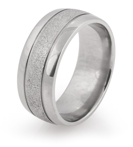Double Groove Arctic Titanium Wedding Ring with Polished Edges
