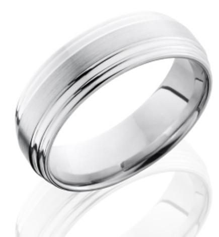 Men's Double Step Down Cobalt Ring