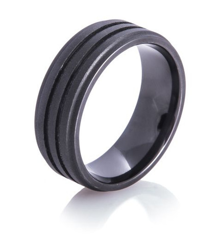 Dual Groove Matte Black Ring