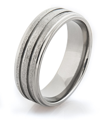Grooved Stone Finish Ring