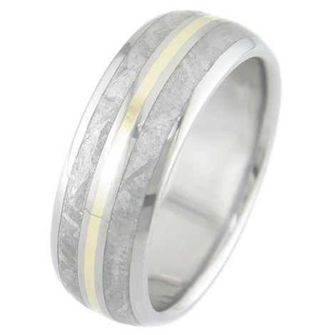 Men's Dual Inlay Titanium Meteorite Ring with 18K Gold Accent