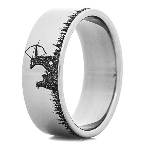 Men's Laser-Carved Titanium Elk Hunting Ring