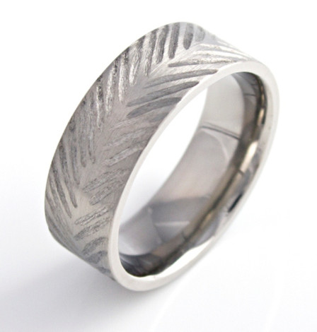 Titanium Feather Style Rustic Band