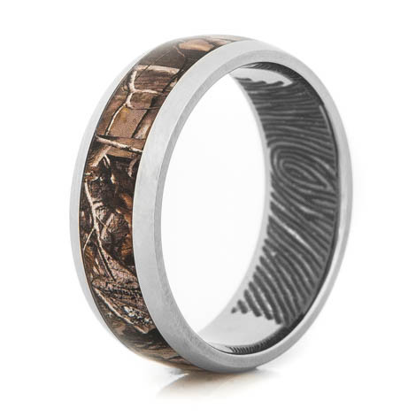 Men's Titanium Fingerprint Engraved Camo Ring
