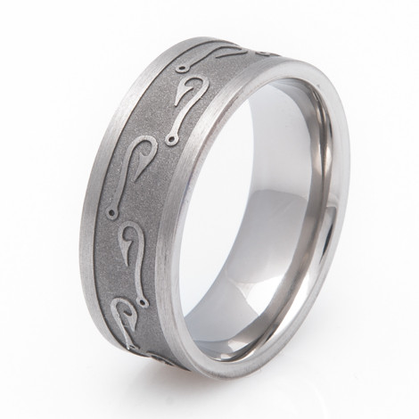 Men's Titanium Fish Hook Ring
