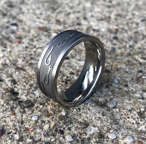 Men's Titanium Fish Hook Ring