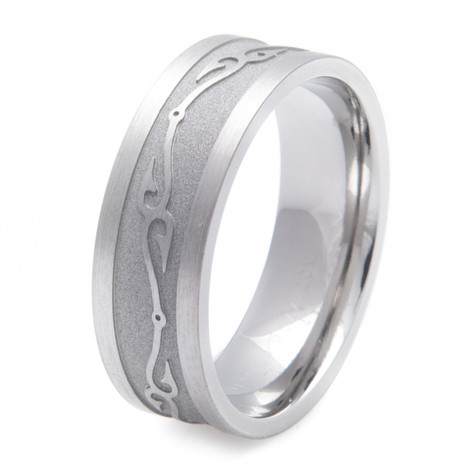 Men's Titanium Connected Fish Hooks Wedding Ring