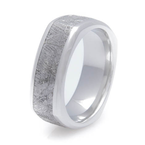 Men's Beveled Edge Square Cobalt Gibeon Meteorite Ring