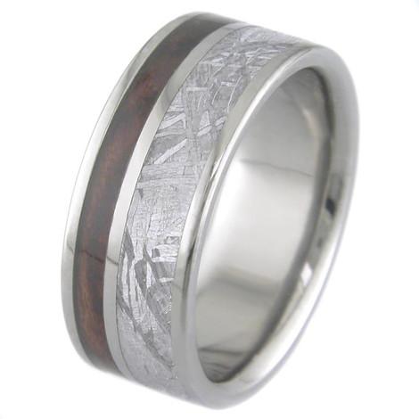 Men's Flat Titanium Gibeon Meteorite Ring with Hardwood Inlay