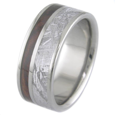 Men's Flat Titanium Gibeon Meteorite Ring with Hardwood Inlay