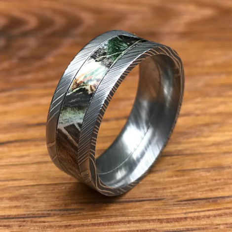 Men's Flat Profile Damascus Steel Camo Ring