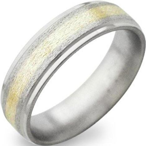 Flat Titanium Stone Gold Inlay Ring